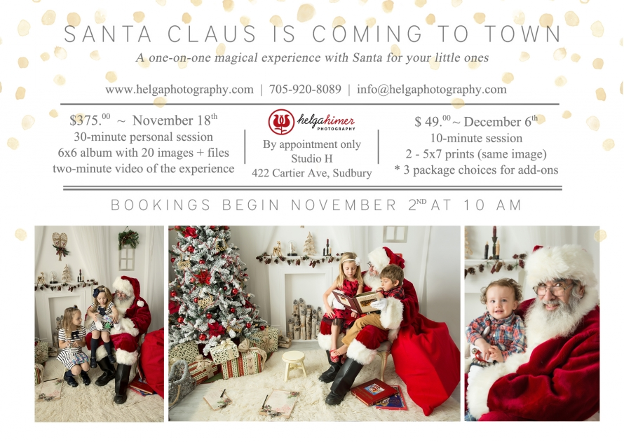 Santa Experience in the Sudbury photography studio. Winter setup for meeting Santa claus