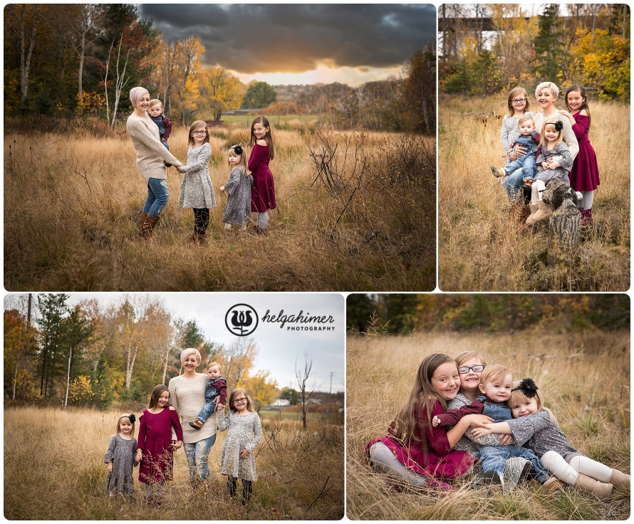 fall family photoshoot tall grass and small kids